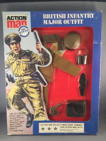 VINTAGE ACTION MAN - BRITISH INFANTRY MAJOR- CARDED UNIFORM (Ref 22/12)